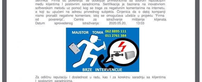 Hausmajstor grejanje električar Beograd majstor